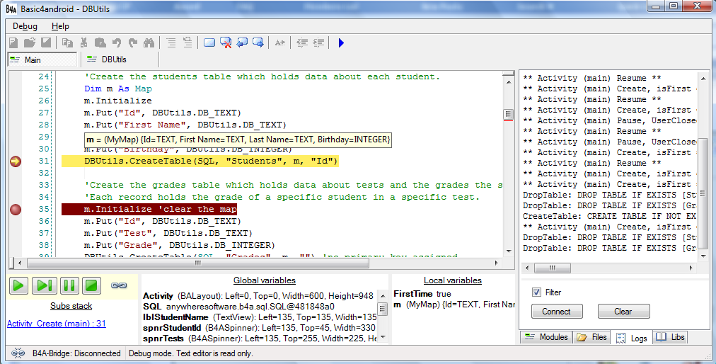 debugger1 - Rapid Application Development (RAD) tool available for the Android platform