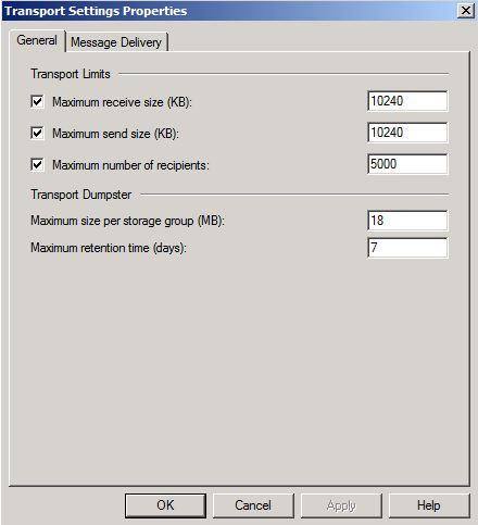 Transport Settings Properties dialog box
