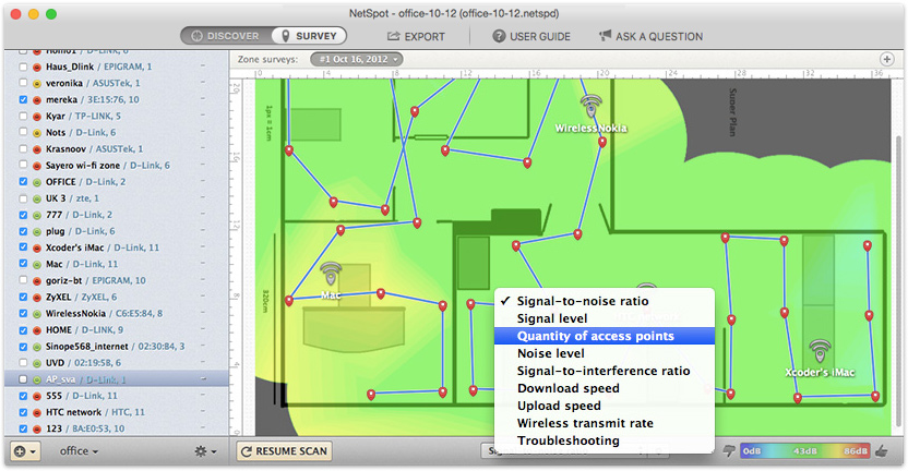 Continue to analyze your wireless network by selecting other reports from the drop-down menu in the lower toolbar of the NetSpot window. Other Wi-Fi analyzer reports include Signal Level, Signal-to-Interference Ratio, Noise Level, and Quantity of Access Points, Download and Upload rates (PRO), Wireless Transmit Rate (PRO) and Troubleshooting (PRO). Export additional heatmaps as needed.