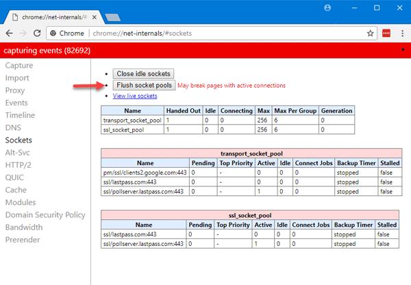 flushsocket - ERR_SPDY_PROTOCOL_ERROR error in Google Chrome