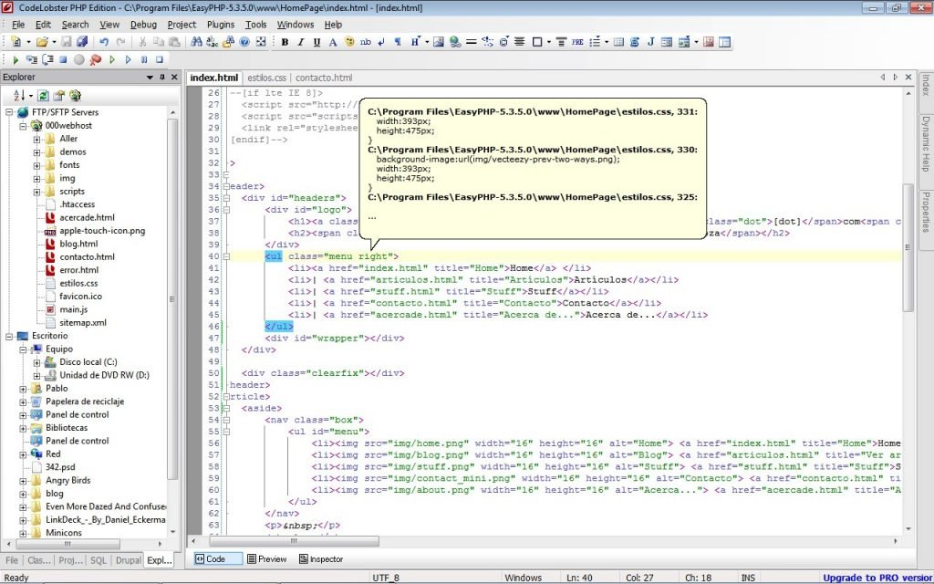 codelobster 1024x640 - Free PHP, HTML, CSS, JavaScript editor - CodeLobster IDE