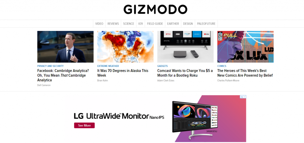 Gizmodo Tech and Science Tips Reviews News And More. 1024x481 - For Tech Lover: Top 20 Best Tech Websites & Blogs That Must Visit!!