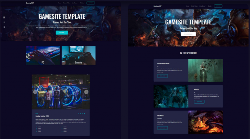 Gaming HTML Website Design GamingAMP 1024x573 - Free Bootstrap Templates That Inspire Anyone