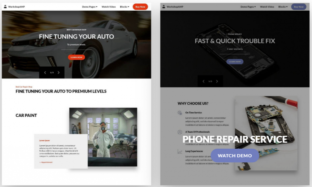 Repair Shop Simple HTML Template WorkshopAMP 1024x614 - Free Bootstrap Templates That Inspire Anyone