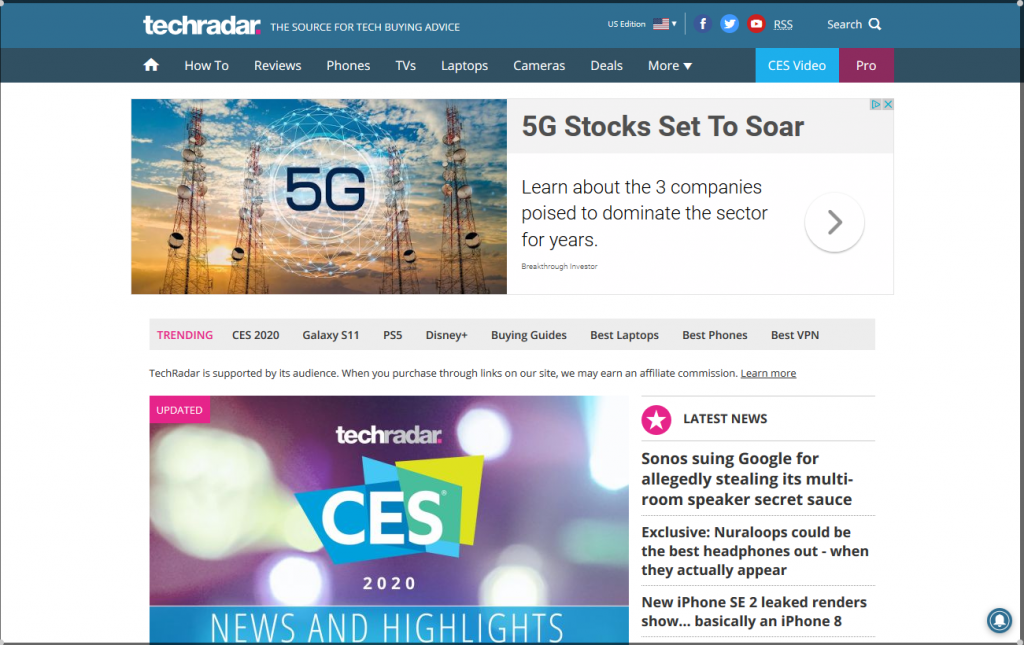 TechRadar The source for tech buying advice 1024x645 - For Tech Lover: Top 20 Best Tech Websites & Blogs That Must Visit!!