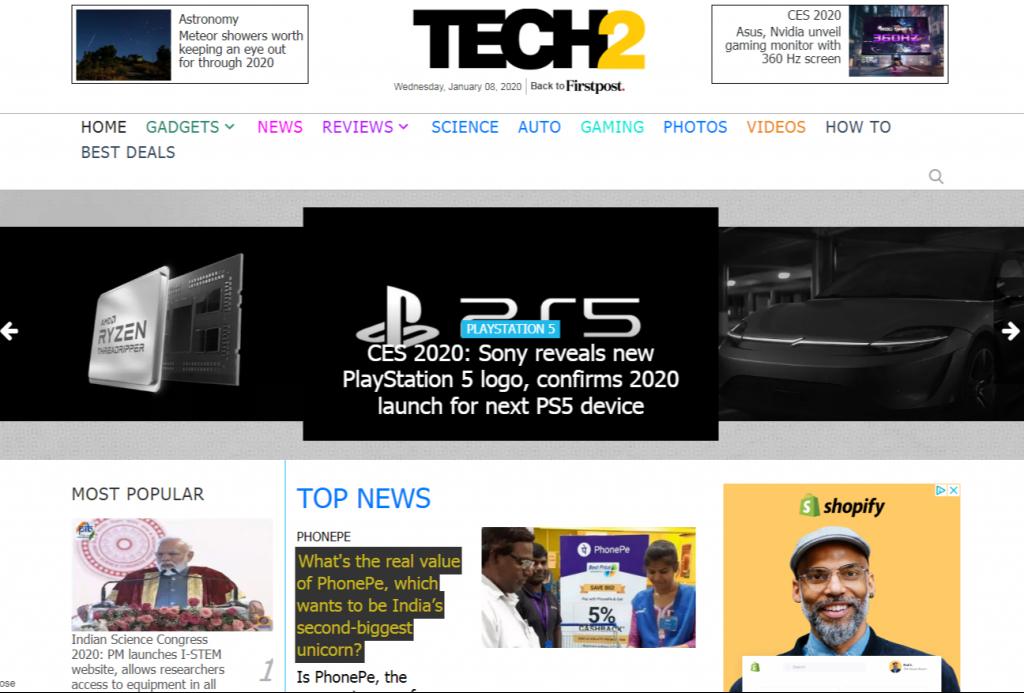 Technology News Latest Tech News Gadgets Mobile Phones Reviews Gaming Products New Tech Updates Online Tech2 Firstpost 1024x693 - For Tech Lover: Top 20 Best Tech Websites & Blogs That Must Visit!!