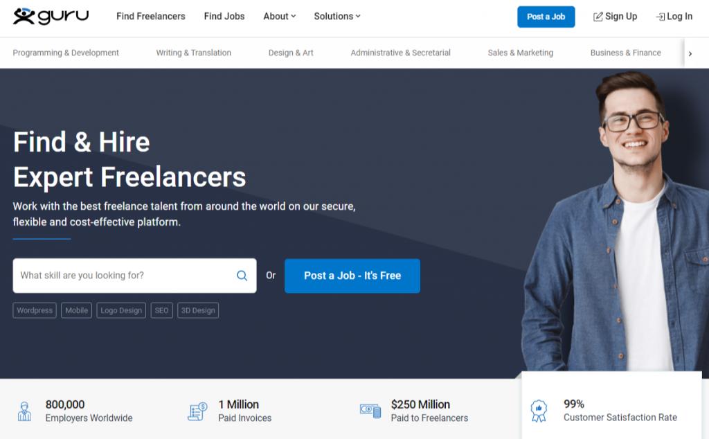Guru Hire Freelancers Online and Find Freelance Jobs Online 1024x634 - Best Freelancing Websites To Get Remote Work in 2020