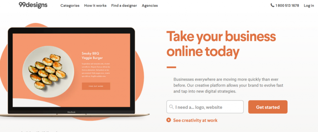 Logos Web Graphic Design More. 99designs 1024x425 - Best Freelancing Websites To Get Remote Work in 2020