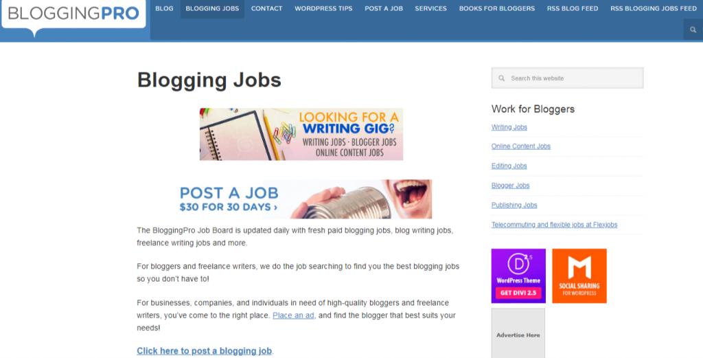 Paid Blogging Jobs BloggingPro 1024x521 - Best Freelancing Websites To Get Remote Work in 2020