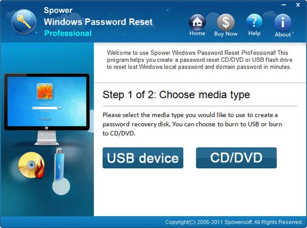 1 choose a media type - How to Reset Lenovo Laptop Password If Forgot in Windows 7/8/10