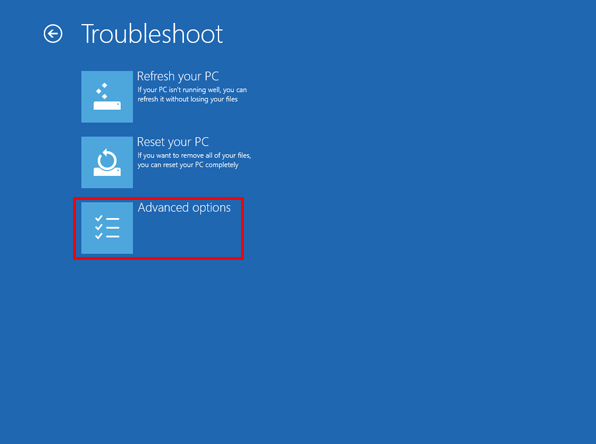 6 pick the Advanced options - How to Reset Lenovo Laptop Password If Forgot in Windows 7/8/10