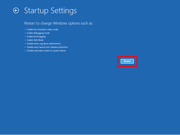 8 click on Restart button to unlock lenovo laptop Windows 7 - How to Reset Lenovo Laptop Password If Forgot in Windows 7/8/10