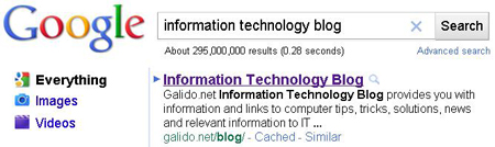itblog - Galido.net - #1 on Google for Information Technology Blog