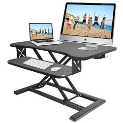 Pyle Ergonomic Standing Desk & PC Monitor Riser – Height Adjustable Laptop & Computer Table w/ Wide Keyboard Tray – Black Sit & Stand Desktop Workstation Converter for Office or Gaming Use – PDRIS12