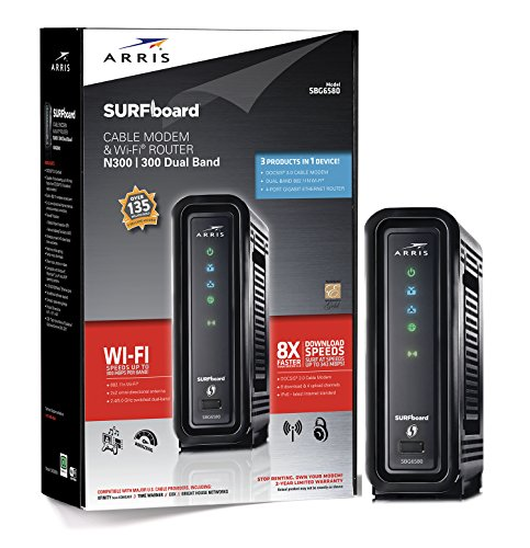ARRIS SURFboard SBG6580-2 8×4 DOCSIS 3.0 Cable Modem/Wi-Fi N600 (N300 2.4Ghz + N300 5GHz) Dual Band Router – Retail Packaging Black (570763-034-00)