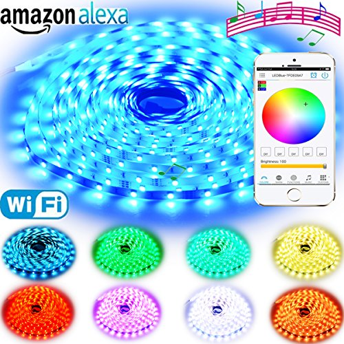 Rxment RGB LED Strip Lights with Remote – 5M 16.4 Ft 5050 RGB 150LEDs Full Kit, Blue LED Light Strip, LED Night Light, LED Rope Lights, LED Tape Light, Alexa Accessories, LED light strips, LED lights