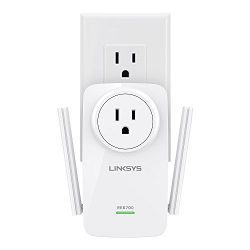 Linksys AC1200 Amplify Dual Band High-Power Wi-Fi Gigabit Range Extender/Repeater with Intelligent Spot Finder Technology and AC Pass Thru (RE6700)