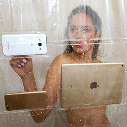 iPad  Mount Clear Shower Curtain Liner Tablet or Phone Holder Waterproof 8 Gauge EVA 72×72 Bathroom