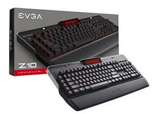 EVGA Z10 Gaming Keyboard, Red Backlit LED, Mechanical Brown Switches, Onboard LCD Display, Macro Gaming Keys, 802-ZT-N101-KR