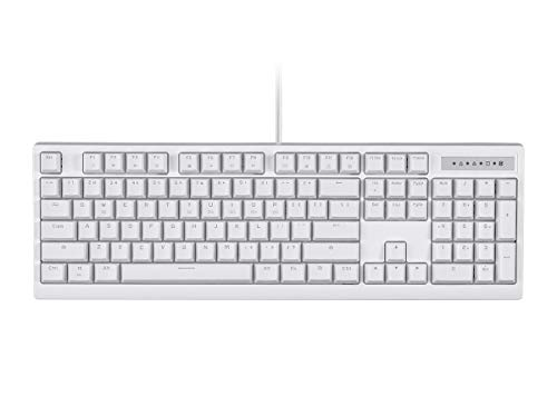 Monoprice Brown Switch Full Size Mechanical Keyboard – White | Ideal for Office Desks/Workstations/ Tables – Workstream Collection