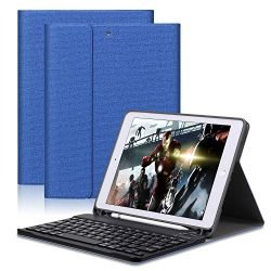 "GOOJODOQ Keyboard Case Applied to New iPad 2017/2018 9.7″ / iPad Air/iPad Air 2/iPad pro 9.7""-Soft TPU Stand Cover[Viewing Angle Adjustable]+Magnetically Detachable Wireless Bluetooth V3.0 Keyboard"
