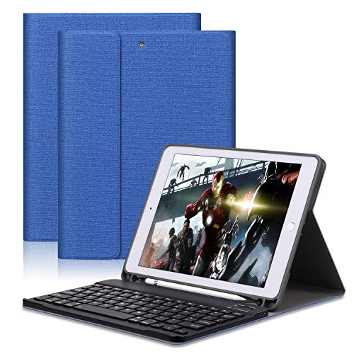 """GOOJODOQ Keyboard Case Applied to New iPad 2017/2018 9.7″ / iPad Air/iPad Air 2/iPad pro 9.7""""-Soft TPU Stand Cover[Viewing Angle Adjustable]+Magnetically Detachable Wireless Bluetooth V3.0 Keyboard"""