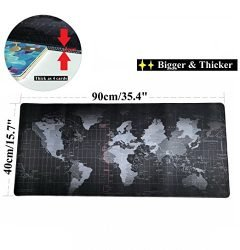 VIPAMZ Extended Xxxl Gaming Mouse Pad – 35.4″x15.7″x0.12″ Dimension – Portable with Extended XXL Size – Non-slip Rubber Base – Special Treated Textured Weave with Precision Control (worldmap)