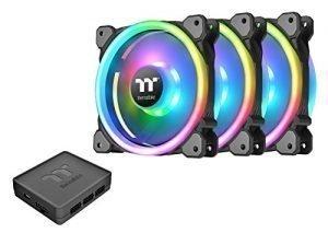Thermaltake Riing Trio 140mm Circular 12 LED RGB High Static Pressure Radiator Fan TT Premium Edition Case Fans – 3 Pack CL-F077-PL14SW-A