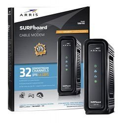 ARRIS Surfboard (32×8) DOCSIS 3.0 Cable Modem, 1.4 Gbps Max Speed, Certified for Comcast Xfinity, Spectrum, Cox, Cablevision & More (SB6190 Black)