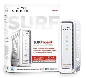 ARRIS SURFboard (32×8) DOCSIS 3.0 Cable Modem, 1.4 Gbps Max Speed, Certified for Comcast Xfinity, Spectrum, Cox, Cablevision & more (SB6190 White)