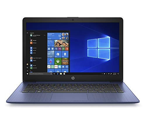 HP Stream 14-inch Laptop, AMD Dual-Core A4-9120E, 4GB RAM, 64GB eMMC Storage, Windows 10 S (14-ds0050nr, Blue)