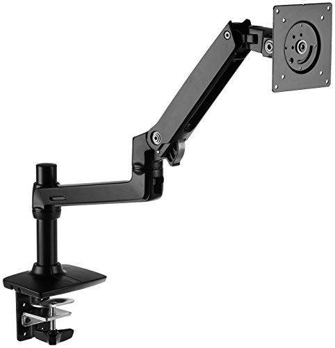 AmazonBasics Premium Single 32 Inch Monitor Stand – Lift Engine Arm Mount, Aluminum