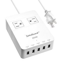 Zettaguard Mini 2-Outlet Travel Power Strip Surge Protector with 5 USB Charger USB Charging Station Hub (Smart USB Port, 40W/8A) and 5 Feet Power Cord, White(Zg250)