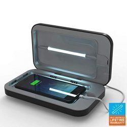 PhoneSoap 3 UV Cell Phone Sanitizer and Dual Universal Cell Phone Charger | Patented and Clinically Proven UV Light Sanitizer | Cleans and Charges All Phones – Black (Renewed)