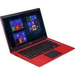 Ematic 14.1″ Laptop PC with Intel Atom Quad-Core Processor, 4GB Memory, 32GB Flash Storage and Windows 10, Red (EWT147RD)