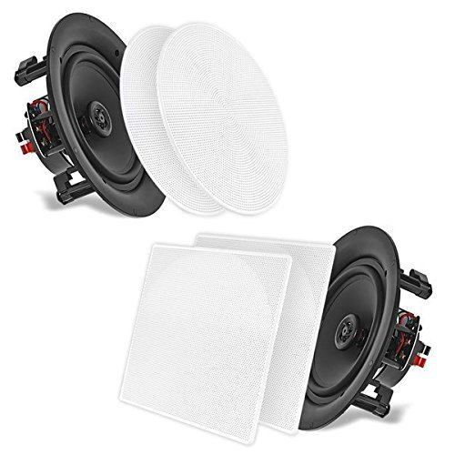 """5.25"""" In-Wall/In-Ceiling Dual Speakers (Pair) – 2-Way Woofer Speaker System 1/2″ Polymer Tweeter Flush Mount w/ 80Hz – 20kHz Frequency Response 150 Watts Peak 8 Ohm Rating – Pyle PDIC56 (White)"""