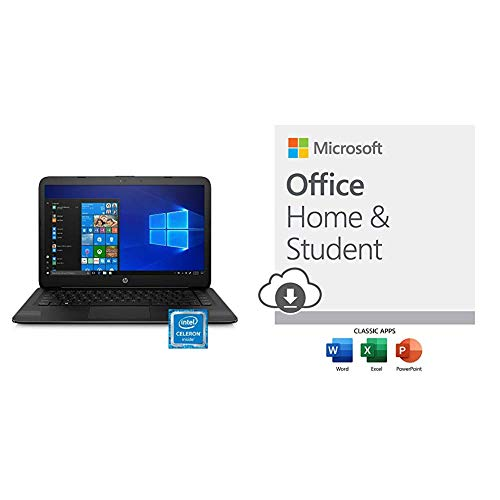 HP Stream 14-inch Laptop, Intel Celeron N4000, 4 GB RAM, 64 GB eMMC, Windows 10 Home in S Mode (14-cb159nr, Jet Black) with Microsoft Office Home and Student 2019 Download 1 Person
