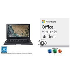 Samsung Chromebook 3, 11.6″, 4GB Ram, 64GB eMMC (XE500C13-K06US) with Microsoft Office Home and Student 2019 Download 1 Person