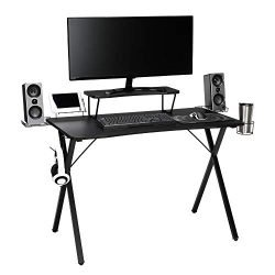 OFM Essentials Collection 55″ Gaming Computer Desk, 35″ Monitor Shelf, X-Base, in Black/Black