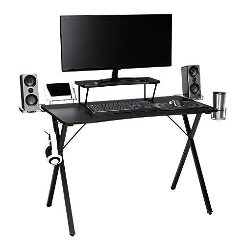 OFM Essentials Collection 55″ Gaming Computer Desk, 35″ Monitor Shelf, X-Base, in Black/Black