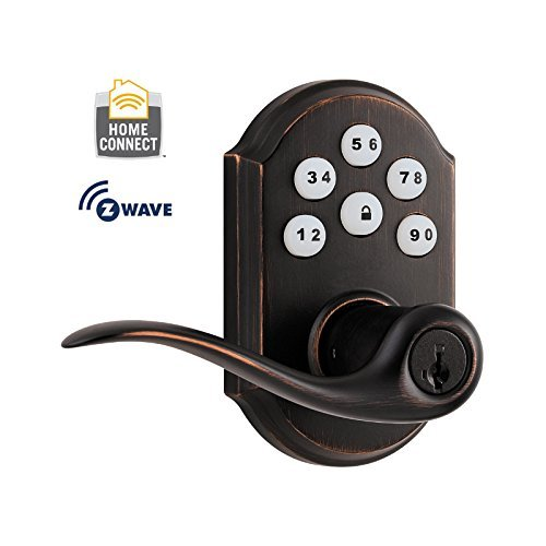 Kwikset 912 Z-Wave SmartCode Electronic Touchpad with Tustin Lever, Featuring SmartKey in Venetian Bronze, Works with Alexa via SmartThings, Wink, or Iris