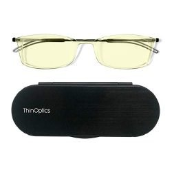 ThinOptics Blue-Light-Blocking Computer Glasses + Milano Aluminum, Magnetic Case | Frontpage Brooklyn Collection, Clear Frame 1.50 Strength Readers